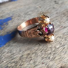 Amazing rhodolite conversion ring by VictoriaVVintage on Etsy