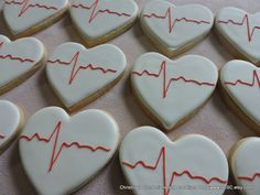 ECG EKG Heartbeat Hand decorated sugar cookies 2378 by 3CSC
