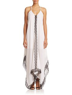 Alice + Olivia - Rav Lace-Trim Cotton Maxi Dress - Saks.com