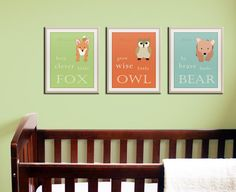 prints of an Owl, Bear & Fox all have their own special message: grow wise little owl be brave little bear keep clever little fox