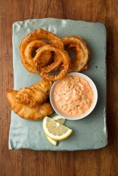 Beer-Battered Fish and Onion Rings with Kimchi Tartar Sauce