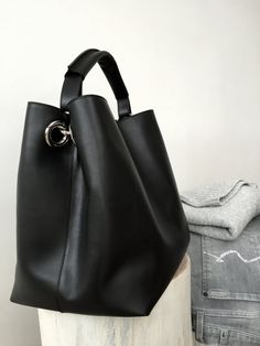 b2b2aa74aedf Handcrafted black leather tote. Spacious hobo bag by iADOREmyBAG Black  Leather Tote