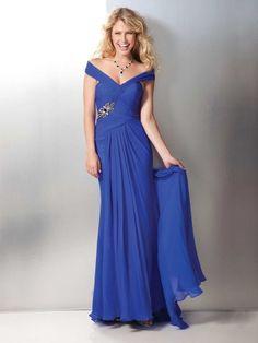 Sheath/Column Off-the-Shoulder Floor-length Chiffon Best-Selling Prom Dress with Ruff