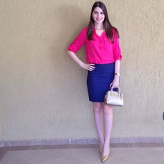 @lookbyus look do dia trabalho moda feminina work fashion style tips looks outfits pink blue Rosa azul