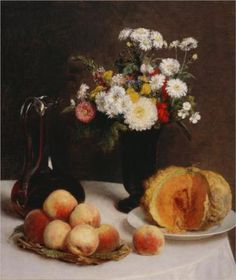Still Life with a Carafe Flowers and Fruit - Henri Fantin-Latour