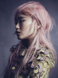 The Chinese supplement from Vogue Australia's November 2015 issue taps pink-haired stunner Fernanda Ly as its cover star. Photographed by Nicole Bentley and styled by Meg Grey, the Louis Vuitton model poses in pastel hued looks from top brands including Prada, Bottega Veneta and Versace. Koh worked on hair with makeup by Linda Jefferyes. Pages: …