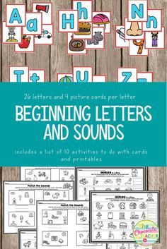 Alphabet activities for your preschool or kindergarten students. This set includes the upper and lower case letters for all 26 letters of the alphabet. Also, there are 4 picture cards to go with each letter. This set has suggestions for 10 activities you can do with the letter and picture cards. Six printables round out this very useful product!