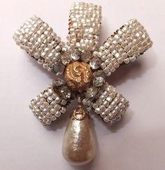 Vintage Miriam Haskell baroque seed pearl rhinestone ribbon brooch