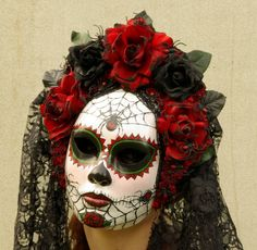 Viuda Negra Mask, Day of the Dead full faced mask with headdress, burnt silk roses, and trailing lac Uñas Acrilicas ? Costume Halloween, Celebrity Halloween Costumes, Skeleton Costumes, Skeleton Makeup, Halloween Fashion, Holidays Halloween, Halloween Make Up, Halloween Decorations, Halloween 2019