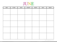 JUNE TEMPLATE - Free Printable Blank Monthly Calendars - 2017, 2018, 2019, 2020+ -