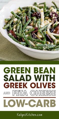 always a sucker for Greek flavors and I love this Green Bean Salad with Greek Olives and Feta Cheese, and if you go easy on the sweet onions this is a great low-carb salad. And fresh green beans are available most of the year now, so enjoy! Healthy Salad Recipes, Vegetable Recipes, Healthy Meals, Bean Salad Recipes, Cheese Recipes, Green Bean Salads, Fresh Green Bean Recipes, Greek Olives, Kalamata Olives