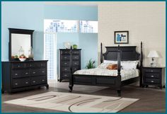 Julie Satin Bedroom Set - White or Black Finish.  Visit us online at: www.magicsleeper.... or call us at 610-327-2322.