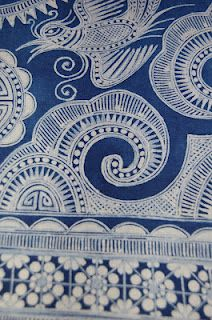 long strips of blue and white decorated fabric that were actually part of a large skirts Textiles, Textile Patterns, Textile Art, Print Patterns, Fabric Art, Fabric Design, Chinese Fabric, China Crafts, Chinese Patterns