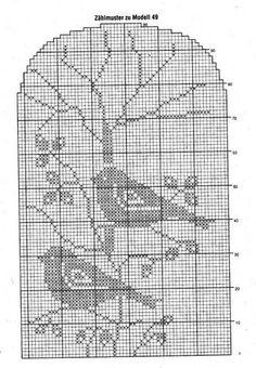 Filet Crochet Charts, Crochet Motifs, Crochet Diagram, Knitting Charts, Crochet Doilies, Cross Stitch Bird, Cross Stitch Charts, Cross Stitch Designs, Diy Crafts