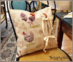 The Empty Nest: ~Annie Sloan French Hens simple pillow tutorial~