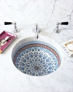 More Snyder blended Italian and Moroccan influences in the painted porcelain sink basins featured in each guest bathroom.Snyder blended Italian and Moroccan influences in the painted porcelain sink basins featured in each guest bathroom. Bathroom Inspiration, Interior Inspiration, Bathroom Ideas, Bathroom Inspo, Bathroom Renovations, Remodel Bathroom, Budget Bathroom, Design Bathroom, Bathroom Hacks