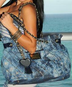 Bebe Blue Quilted Handbag