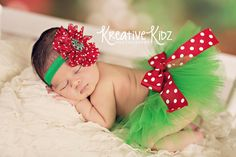 Christmas tutu { Christmas Baby } red, emerald green, polkadot bow, Holiday headband set, First Christmas newborn baby girl photography prop by MudpiesandPigtails on Etsy https://www.etsy.com/listing/203238594/christmas-tutu-christmas-baby-red