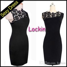 New Fashion Sexy Women Black Midi Bodycon Dress V-Neck Floral Lace Plus Size S M L XL XXL Slim Pencil Dress Knee-Length from Lockin,$4.5 | DHgate.com