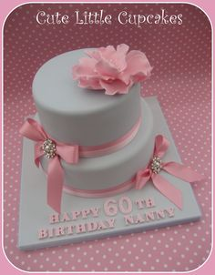 2 tier 60th Birthday cake in powder blue & pale pink ~ decorated with bows…