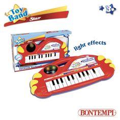 Tastiera elettronica da tavolo a 22 tasti • 2 funzioni: tastiera e melodia • Effetti luminosi • Alim: 3 batterie da 1,5V R6/AA (non incluse) • Dim: 340x180x40 mm