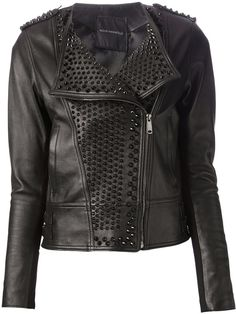 $1,499, Black Embellished Leather Biker Jacket: Nour Hammour Studded Lambskin Jacket. Sold by farfetch.com. Click for more info: http://lookastic.com/women/shop_items/45238/redirect