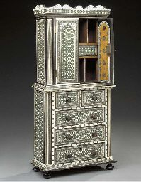 An Anglo-Indian sadeli veneered miniature cabinet on chest, probably mid 19th century
