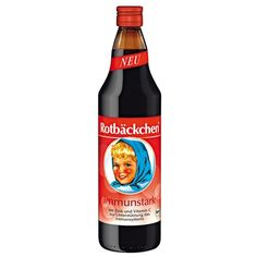 Rotbäckchen // an all natural drink known to help boost the immune system.  Can't miss the blond girl with red cheeks (Rotbäckchen) & blue scarf label.