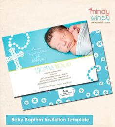 Baby Boy Baptism Invitation Template. $8.00, via Etsy.