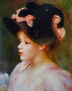 Pierre-Auguste Renoir - Jeune Fille au chapeau rose et noir