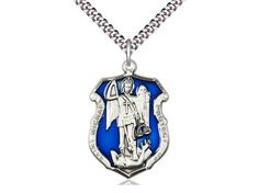 18-Inch Rhodium Plated Necklace with 4mm Crystal Birthstone Beads and Sterling Silver Saint Thomas of Villanova Charm.