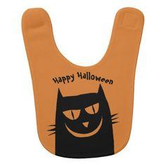 Happy Halloween Cat Bib - baby gifts child new born gift idea diy cyo special unique design