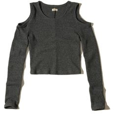 Hollister Cold Shoulder Knit Crop Top ($25) ❤ liked on Polyvore featuring tops, dark grey, knit top, cut out shoulder top, cold shoulder tops, long sleeve cutout top and long sleeve tops