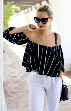Off Shoulder Stripe Top Styling by LadyAddict