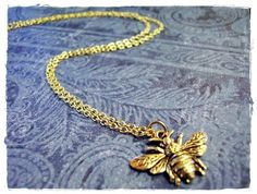 Gold Bumble Bee Necklace Antique Gold by EvelynMaeCreations