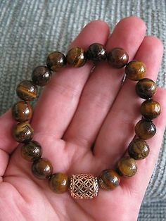 NEW-NATURAL-BRAZILIAN-GOLDEN-TIGER-EYE-CUFF-BRACELET-W-GOLDTONE-CAGE