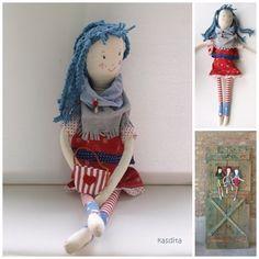 Items similar to Rag doll- Louise- Aquarius girl on Etsy Aquarius, Harajuku, Dolls, Trending Outfits, Unique Jewelry, Handmade Gifts, Children, Etsy, Vintage