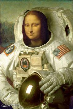 Moa Lisa as a NASA astronaut, pop art Le Sourire De Mona Lisa, Mona Lisa Parody, Mona Lisa Smile, K Wallpaper, Principles Of Art, Italian Artist, Elements Of Art, Photomontage, Caricatures