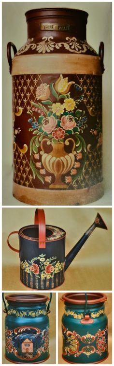 Olá pessoal,     Para o post de hoje, reuni algumas fotos de trabalhos feitos em Bauernmlaerei em peças galvanizadas. O trabalho nessas peç...