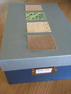 Texture boards for wee ones! in boxes - an interesting way to keep everything organized