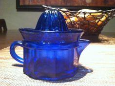 Vintage Depression Cobalt Blue Glass Reamer Juicer with Juice Cup