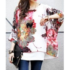 Bohemian Scoop Neck Floral Print 3/4 Sleeve Loose-Fitting Chiffon Blouse For Women