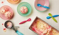 Thomasina Miers' lemon and raspberry ripple ice-cream: 'Genius for dazzling visiting friends and family. Frozen Desserts, No Bake Desserts, Dessert Recipes, Raspberry Ripple Ice Cream, Little Gem Lettuce, Raspberry Recipes, Yummy Food, Tasty, Sweet Recipes