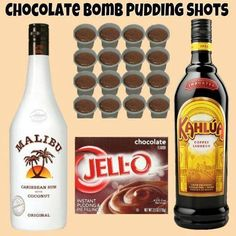Chocolate Bomb Pudding Shots  Sm Chocolate Instant Pudding ¾ c Kahlua ¾ c Coconut Rum 4oz Cool Whip (Extra Creamy preferred but not required)  Whisk Kahlua and Instant Pudding together until as thick as it will get (1-2 minutes). Once it has thickened, add Liquor and whisk until all lumps and clumps are gone. Once the mixture is nice and smooth again, whisk in Cool Whip.  Fill almost ¾ of a 1oz plastic shot cup with the mixture then cover and place in the freezer.  It does take several hour