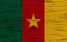 Download wallpapers Flag of Cameroon, 4k, Africa, wooden texture, Cameroonian flag, national symbols, Cameroon flag, art, Cameroon