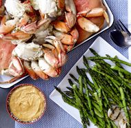 Dungeness Crab with Harissa Aïoli and Grilled Vegetables from Seattle episode