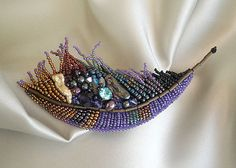 Purple feather, beaded brooch, Ready to ship