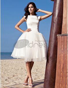 Robe de bal bateau longueur genou satin tulle robe de mariage