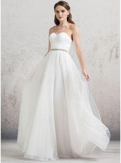 A-Line/Princess Sweetheart Floor-Length Tulle Wedding Dress With Ruffle Beading