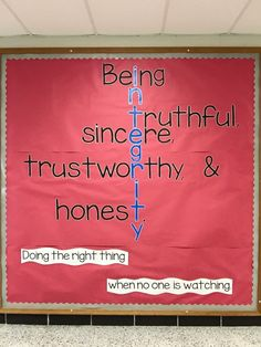 Integrity bulletin board